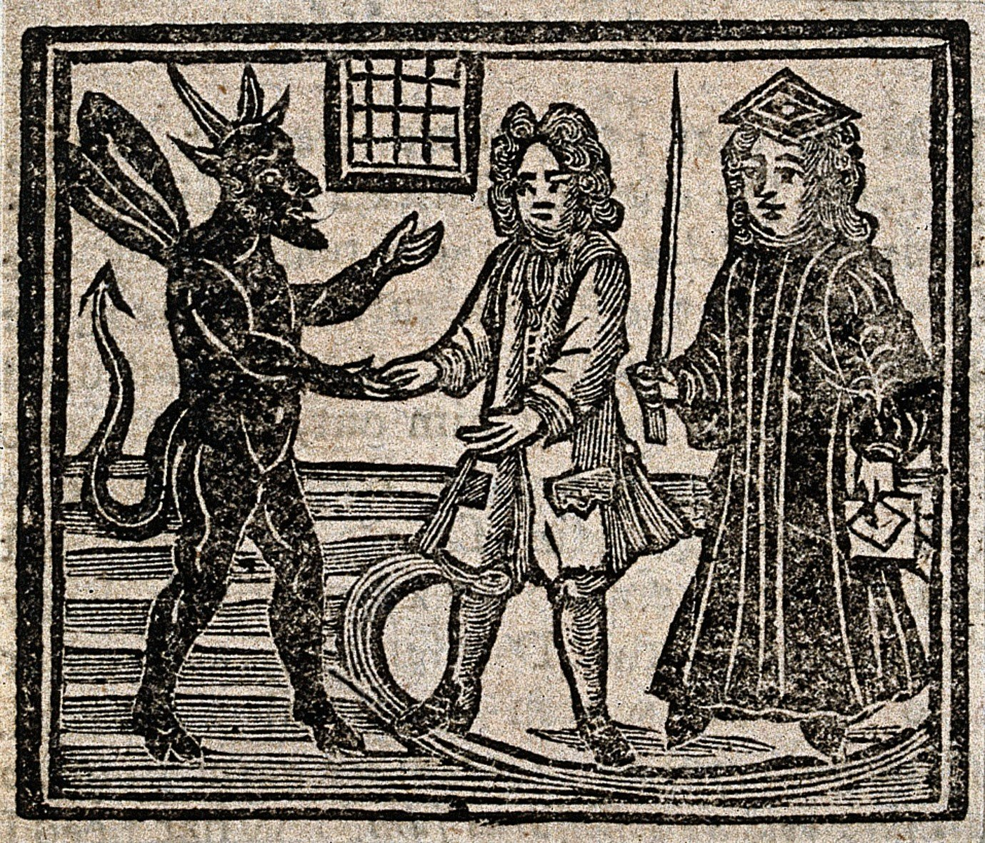 V0025811EBL Witchcraft: the devil talking to a gentleman and a judge (?)
